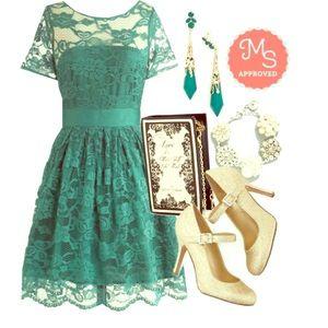 BB Dakota/Modcloth Lace Dress in Green